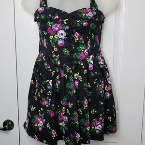 NEW! Black Mini Floral Hell Bunny dress Size Small